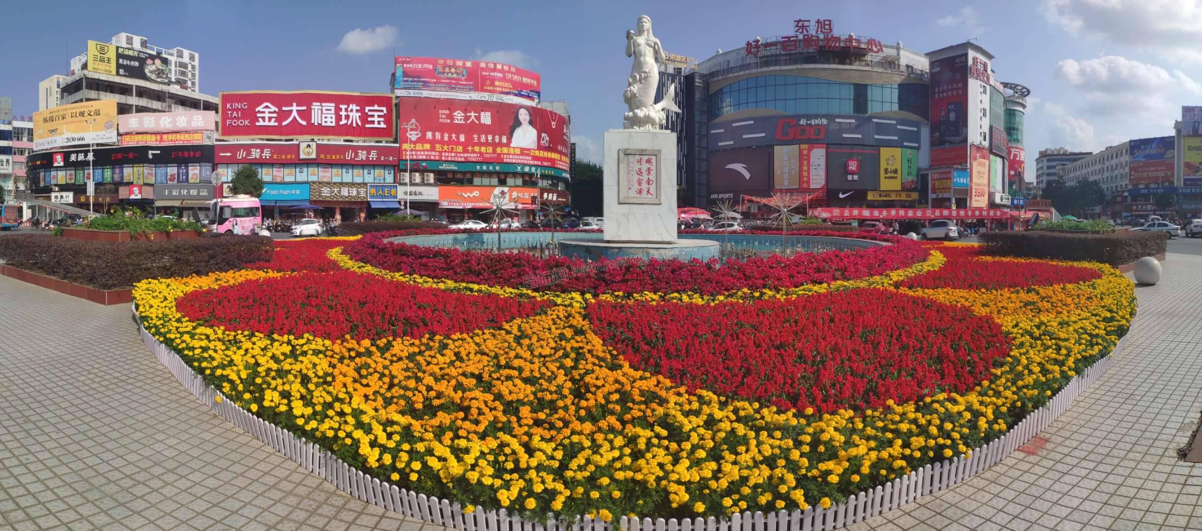 新年就要到了!美人鱼雕像周围摆满了漂亮的鲜花