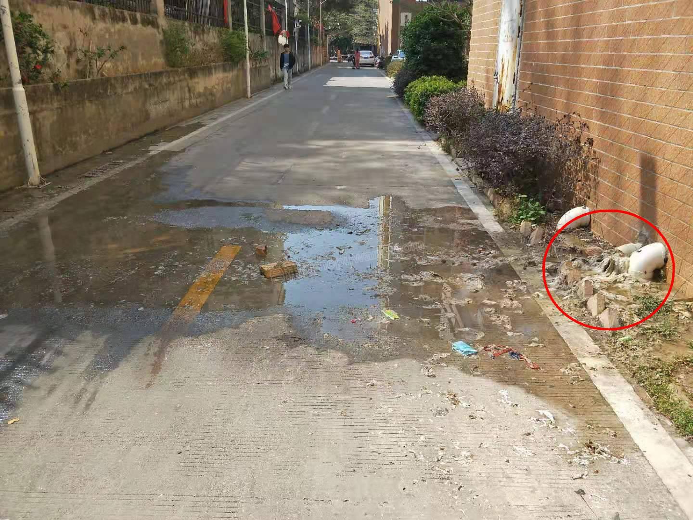呕!合浦某信花园的地下化粪池冒水,粪水在过道流淌无人管......